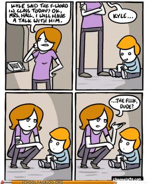 funny kid cursing at school cartoon comic
