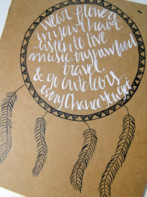 Hand illustrated dream catcher print with quote - Thumbnail 1