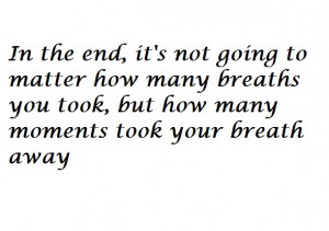 In the end…