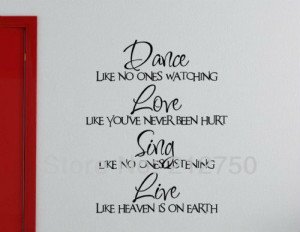 Free shipping Dance Like No One Watching famous quote wall decoration ...