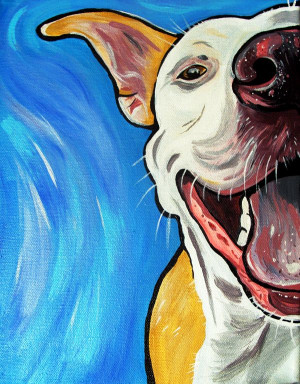Pit Bull art. It looks like our doggie piggy ;) what a smile it brings ...