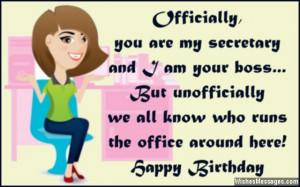 Humorous birthday quote to secretary in office