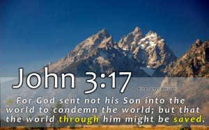 John 3:17 jesus god holy bible verse savior HD Wallpaper