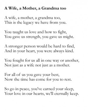 funeral poems about mothers