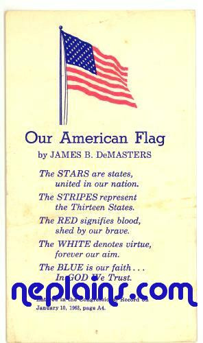 Home > Postcards > Patriotic > Patriotic - Our American Flag poem by ...
