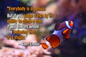 Albert Einstein Inspirational Quote Fish Tree Genius Self