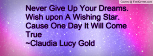 Never Give Up Your Dreams.Wish upon A Wishing Star.Cause One Day It ...