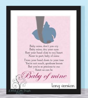 Disney Dumbo Quote Typographic Print - BABY OF MINE {Pink Version ...