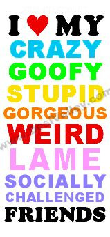 love my crazy goofy stupid lame friends.