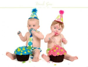 Boy Girl Twin First Birthday Set in Turquoise Lime Dot & Sorbet Dot