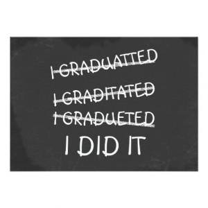 Graduated Funny Misspelling Humor Chalkboard Invite