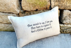 Love Quote Embroidered Pillow with quote by YellowBugBoutique, $32.00