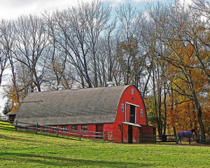Red Gothic Barn - Horse Stable Photo - Country Landscape Art - Rustic ...