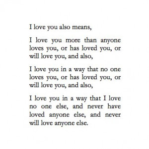 love you means a lot...