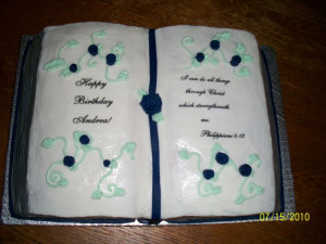 buttercream with edible image bible verse and happy bday fondant roses