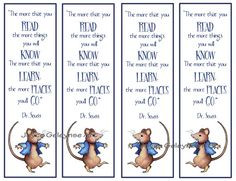 Kids Instant Printable Bookmarks Beatrix Potter Mouse with Quote by Dr ...
