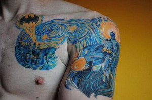 Epic Batman Starry Night Tattoo