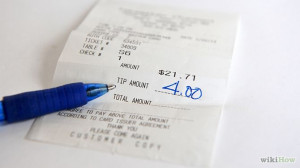 restaurant receipt with tip