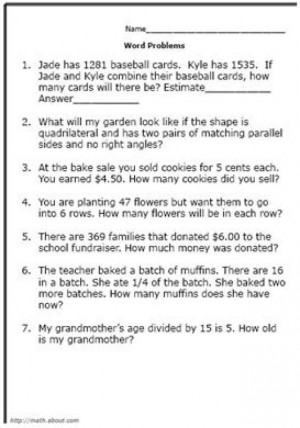 4th Grade Math Word Problems Problem Solving in Math