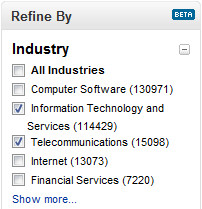 ... industry is to use an industry filter/selection, such as LinkedIn's