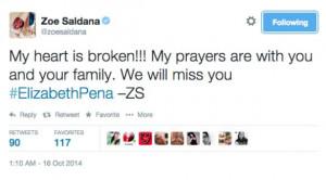 elizabeth pena dead at 55 eva longoria zoe saldana and more pay