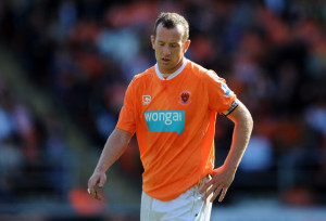 Charlie Adam Charlie Adam of Blackpool reacts during the Barclays