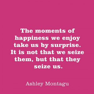 The moments of happiness we enjoy take us by surprise. It is not that ...