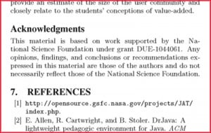 Acknowledgement for research papers