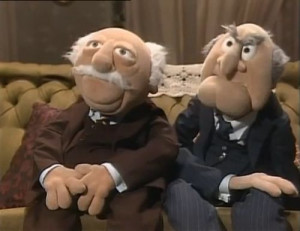 and waldorf statler and waldorf laughing muppets statler and waldorf