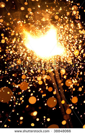 ... sparklers massive firework with large group of particles - stock photo