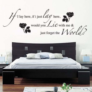 Flower Wall sticker with Black Romantic Quotes Vinyl Home Decoration