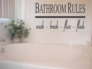 bathroom quotes – bathroom rules vinyl wall quote sticker art ...