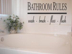 bathroom quotes – bathroom rules vinyl wall quote sticker art ...