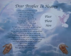 DEAR BROTHER IN HEAVEN MEMORIAL VERSE POEM LOVELY GIFT For Sale - New ...