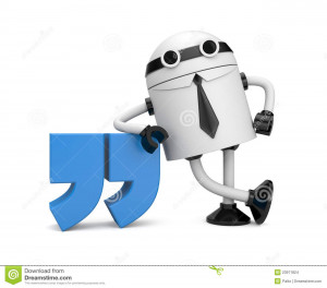 Stock Images: Robot leaning on a quote