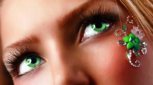 Green Eyes, close-up, flower, girl, green eyes