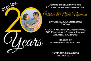 Adult: 20 Years 20th Wedding Anniversary Photo Invitation