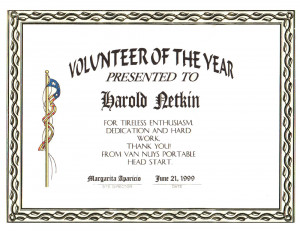 Volunteer Award Certificates