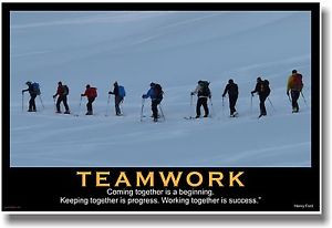 ... NEW Motivational TEAMWORK POSTER - Henry Ford Quote - Sports Ski Team
