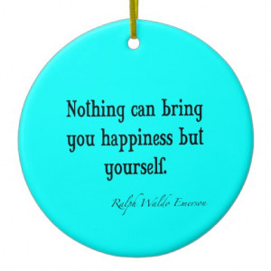 Vintage Emerson Happiness Quote Neon Blue Teal Christmas Tree Ornament