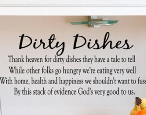 Kitchen Wall Decal Dirty Dishes vin yl lettering quote ...