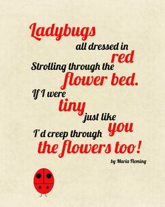 8X10 Ladybug Poem Print by CJMSquared Cute! Decopage onto painted ...