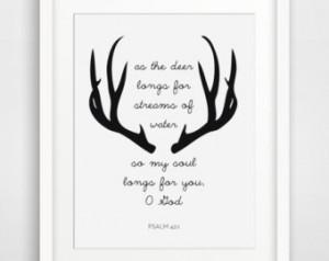 Deer Bible Verses, Psalm 42, Antler Print, Scripture Print, Christian ...