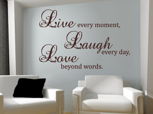 Laugh Love Wall Decal Vinyl Sticker Quote Art Living Room Dining Room ...