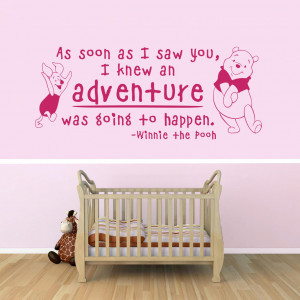 , Inspiring Nursery Wall Decals Winnie The Pooh Quotes With Pink Wall ...