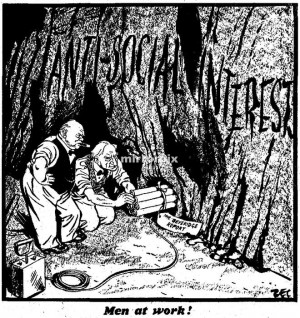 and William Beveridge laying sticks of dynamite labelled Beveridge ...