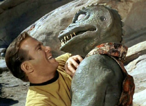 James T. Kirk Kirk fighting Gorn