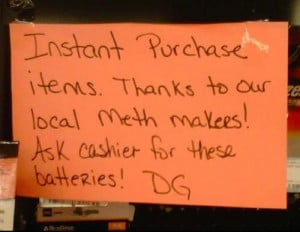 Dollar General gives a shout out to the local meth head