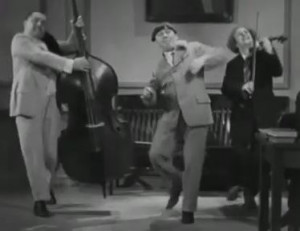"""In this mash-up video, the Three Stooges dance to """"Wipe Out,"""" a ..."""