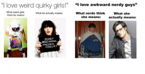 what do men women really mean when they say they like quirky nerdy ...